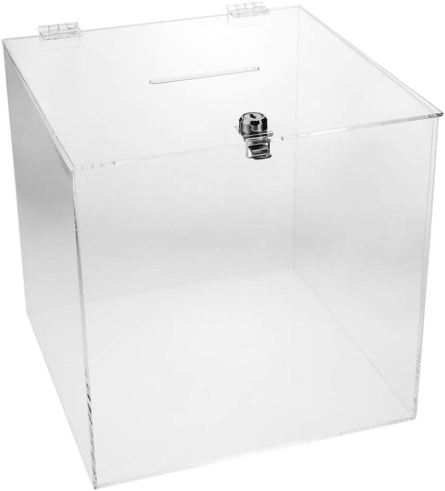 PrimeMatik - Urna de metacrilato Transparente con Llave de Seguridad 24x24x24cm