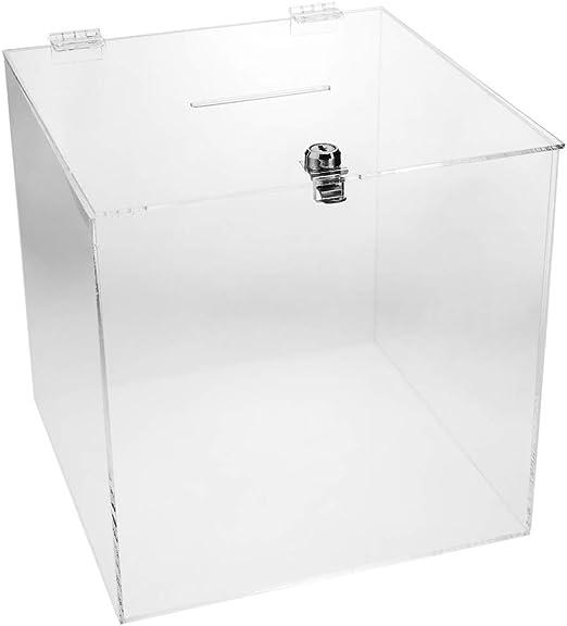 PrimeMatik - Urna de metacrilato Transparente con Llave de ...