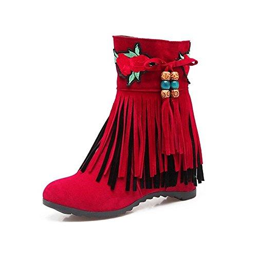 abbigliamento casual Scarpe Novità Rosso punta tonda vello per piattaforma stivali Nero materiali personalizzati Beige Black HSXZ donna Inverno 7dSXwqOOx