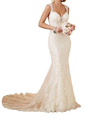 RYANTH Womens Mermaid Wedding Bridal Dress Lace Tulle Beach Wedding Dresses Backless R24 Ivory 18W