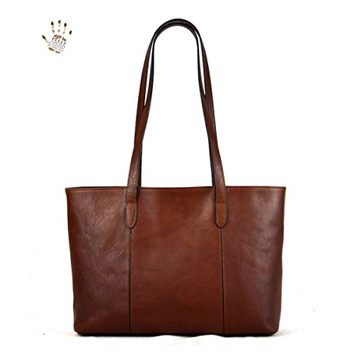 Color Bag Line Leather Interior Prestige Compartment Tuscan With Italy Made Genuine Brown In Leather Shopper B6qUTzf