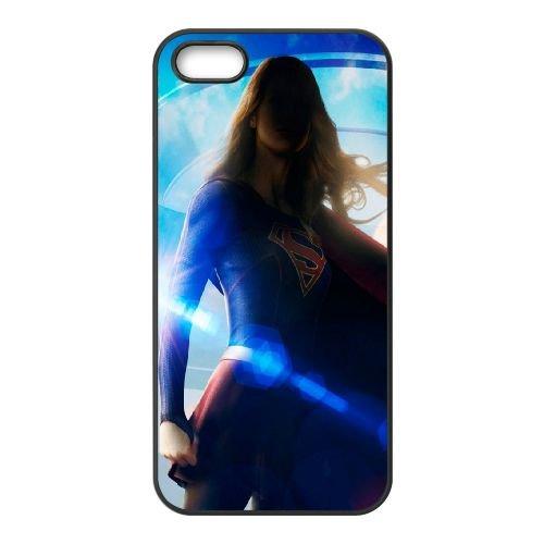 901 Supergirl L coque iPhone 5 5S cellulaire cas coque de téléphone cas téléphone cellulaire noir couvercle EOKXLLNCD21193