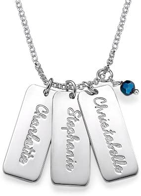 chain 18 inch Sterling Silver Personalized Vertical Bar Necklace Custom Made Any Name Pendant