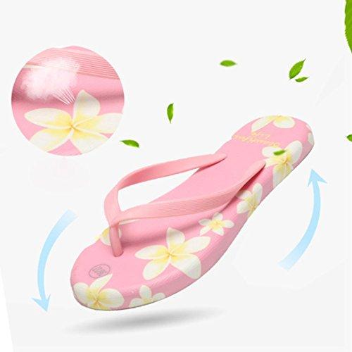 bescita Sommer Sandalen Flip Flops Sandstrand Bad Kühler Hausschuhe Peeptoe Damenschuhe (39, Rosa)