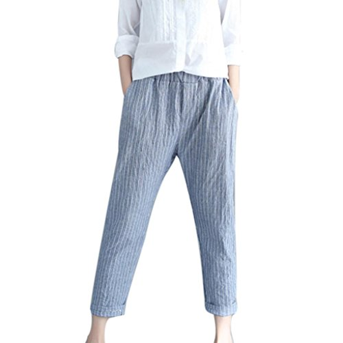 Clearance Womens Plus Size Harem Pants vermers Women Linen Striped Casual Trousers Fashion Loose Striped Full Pants(3XL, Blue) (Interlock Embroidered)