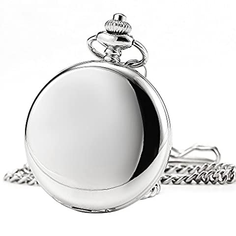 SIBOSUN Antique Skeleton Watches Pocket Men Silver Smooth Double Case Mechanical Full Hunter Hand (Men Antique Watch)