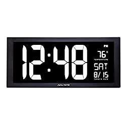 AcuRite 76102M Oversized LED Clock with Indoor Temperature, Date and Fold-Out Stand, 18