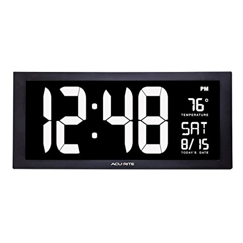 AcuRite 76102M Oversized LED Clock with Indoor Temperature, Date and Fold-Out Stand, (Giants Clock)