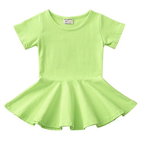 Daiermeng Baby Girls Dress Short Sleeves Organic Skirt Ruffled Pullover 6-48m (2-3Year(3T), Green)