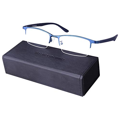 - Pure Titanium Men Rectangle Eyewear Half Rim Business Eyeglasses Optical Glasses Frame With Non-Prescription Clear Lenses (Blue)