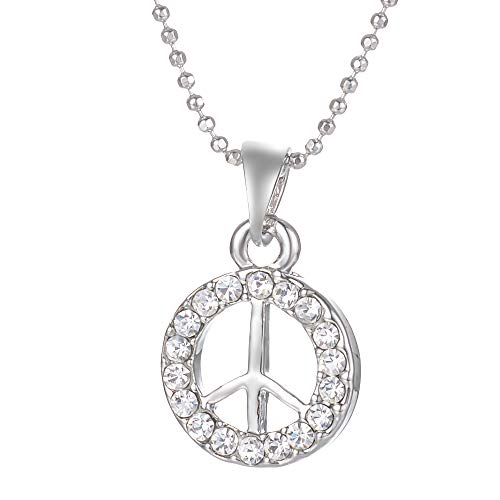 - Yves Renaud 0.6 Inch Silver Tone Round Pave Circle Crystal CZ Peace Sign Symbol Pendant Necklace on a 20