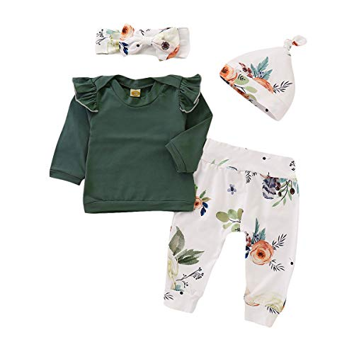 (4 pcs Baby Outfits Newborn Baby Girls Clothes Set Ruffle Tops +Pants +Hats+ Headband Green)
