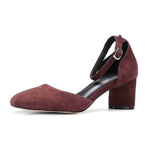 BalaMasa Urethane Shoes Pumps Nubuck Brown Solid APL11070 Travel Womens IxSrIq4