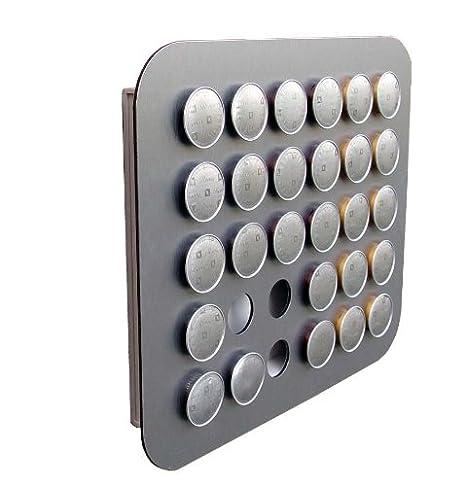 Holzhäuser Geo - Soporte dispensador para cápsulas de Nespresso (fijación en pared, aluminio)