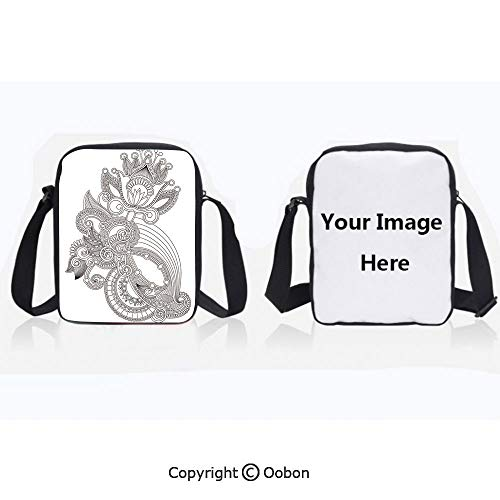 Unisex Adult Polyester Crossbody Bag Waterproof Hand Drawn Line Art Blossoming Organic Nature Flower Ornate Motif Antique Ancient Decorative Black White Zipper Anti Theft Shoulder Bag For Travel -