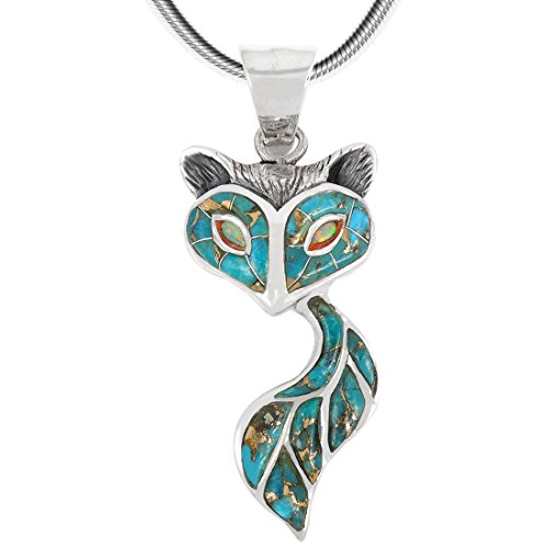 Beautiful Pendant Turquoise - Fox Pendant Necklace Sterling Silver 925 Genuine Turquoise & Gemstones (18