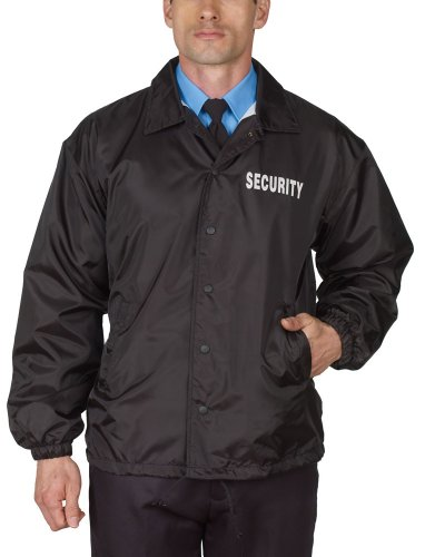 Security Windbreaker Jacket Black Flannel Lined (Security Windbreaker)