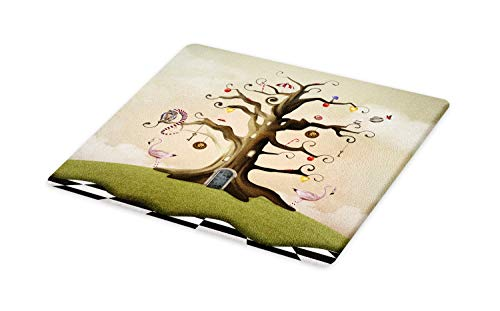 Ambesonne Tree Cutting Board, Wonderland Themed Leafless Bole with Hipnotic Ornaments on Black White Checkered Floor, Decorative Tempered Glass Cutting and Serving Board, Large Size, Multicolor ()