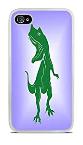 Dinosaur Roar White Silicone Case for iPhone 4 / 4S