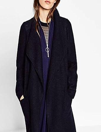 Damen Solide Einfach Ausgehen   Lässig Alltäglich Mantel,Herbst   Winter  Hemdkragen Langarm Schwarz e22e0621dc