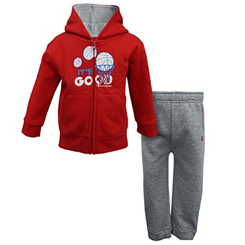 Fleece Hooded Oxfords - Champion Baby Boys Hooded Fleece Sets (18M, Coach Red/Oxford Heather)