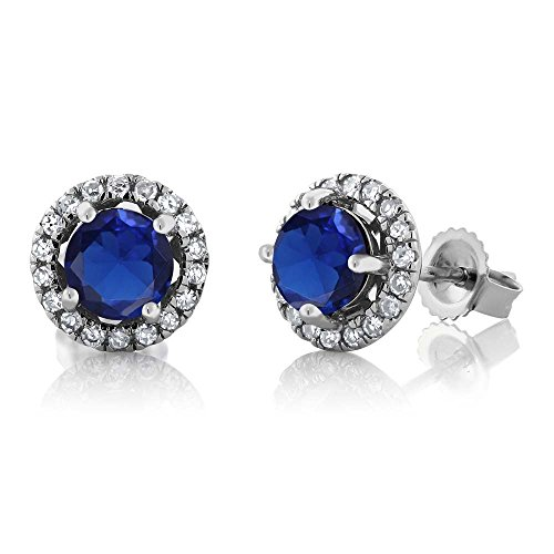Gem Stone King 14K White Gold Diamond Halo Earrings set with 1.38 CTTW Blue Simulated Sapphire (Diamond Blue Earrings Simulated)