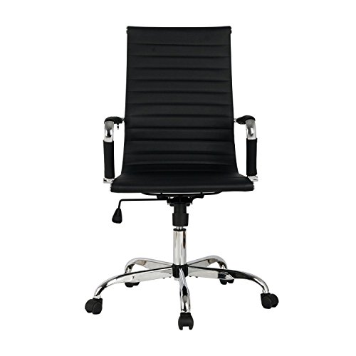 Modern high back office chair black pu leather executive task ergonomic computer desk