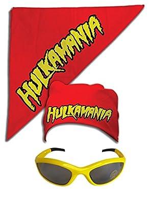 Hulk Hogan Hulkamania Bandana Sunglasses Costume -Red-Yellow