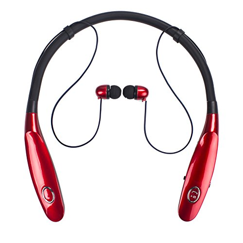 Bluetooth Headphones 14Hr Working Time, Truck Driver Bluetooth Headset, Wireless Magnetic Neckband Earphones, V4.2 Noise Cancelling Earbuds w/Mic, Compatible with Any Bluetooth Equitments (Red)
