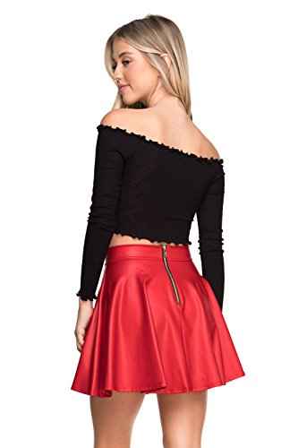 (Women's Junior Plus J2 Love Faux Leather Back Gold Zip Mini Skater Skirt, 2X, Red Matte)