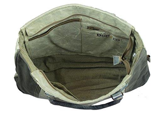 Domelo Tracht borse da Donna / Uomini Vintage Borse a tracolla Borsette in Canvas / Telo olona con pelle 53005
