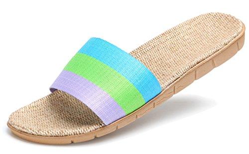 Blubi Womens Stripes Open Toe Flax Summer Slippers Skid-proof House Slippers Light Purple rDURttyF