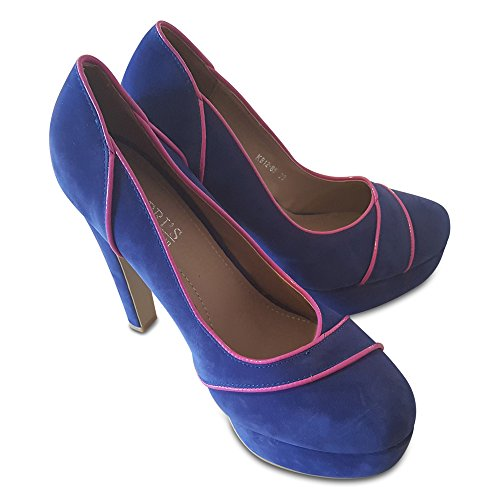 Kapri's Collection Suede Black Heel Court Shoe With Patent Contrast Colour Piping Cobalt o3roDR1J