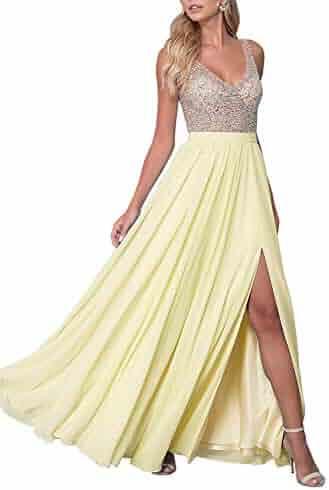 59e9bb1761 DD Bridal Women s V Neck Illusion Beaded Bodice Prom Dress Long Sexy Split Evening  Gowns