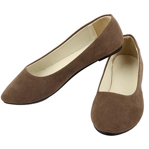Liebe Zeit Frauen Flache Schuhe Bequeme Slip auf Spitzschuh Ballerinas Brown 41