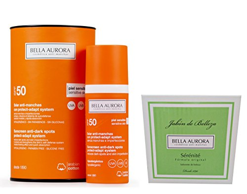 Bella Aurora Sunscreen Anti-dark Spots Spf 50+. Sensitive Skin + Sérénité Soap 100gr