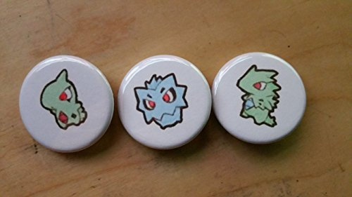 5x Pokemon Collectible 1'' inch Buttons - Lavitar Pupitar Tyranitar Evolution Set - Custom Made - Pin Back - Gift Party Favor by Legacy Pin Collection
