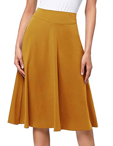 Kate Kasin Casual Long Khaki Skirts Below The Knee Length for Women Plus Size(3XL,Yellow)