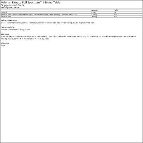 Planetary Herbals Valerian Extract Full Spectrum 650 mg 30 T