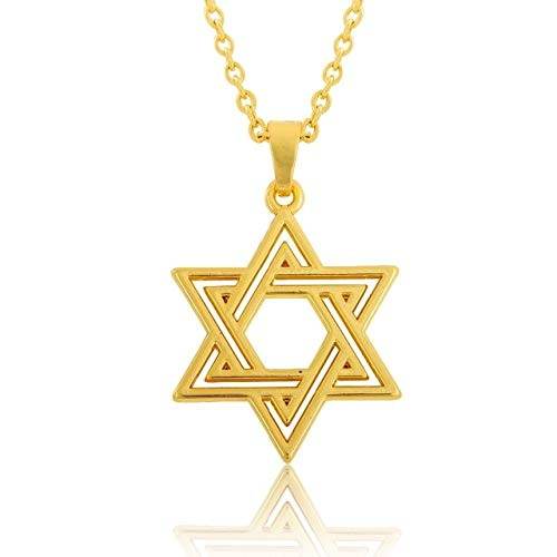 Gimax My Shape Yellow Gold Color Star of David Jewish Religious Medal Pendant & Chain Necklace - (Metal Color: 2)