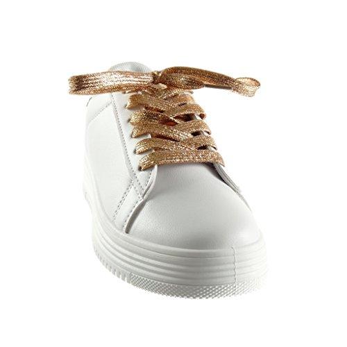 Brilhante 5 Angkorly Planalto Femininos Espumante Cunha De Salto Cobra Sapatos Calcanhar Sapatilha Centímetros Sapatos Baixa Champanhe Ténis 3 Alto RRxaAPwq