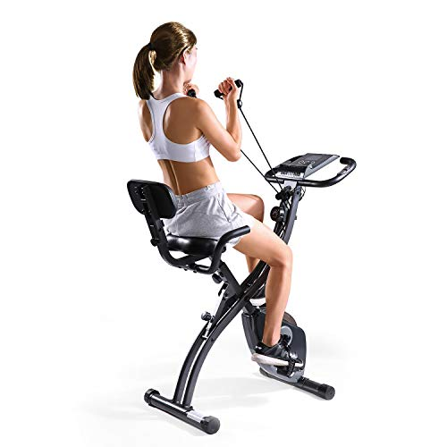 MaxKare 3 in1 Folding Magnetic Upright Exercise Bike w/Pulse, Indoor Stationary Bike with Adjustable Arm Resistance Bands and LCD ()