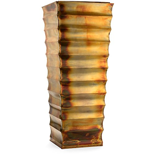 H Potter Tall Outdoor Planter Decorative Large Rustic GAR593 Ribbed Indoor Flower Planter by H Potter