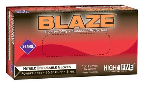 "High Five Blaze 10.5"" Nitrile Exam Gloves, Large, 100 Gloves"