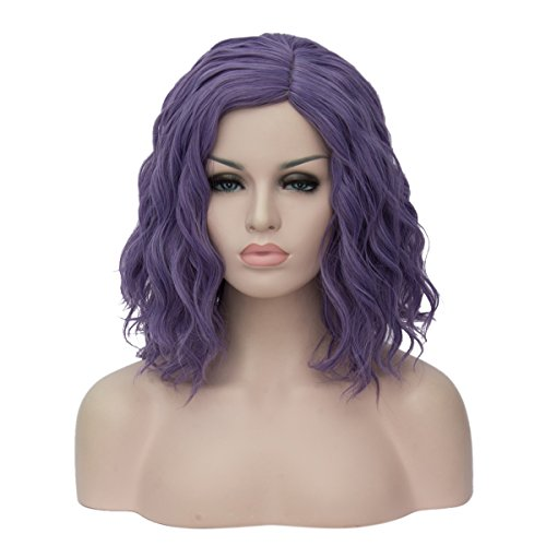 Costumes Wigs Online (Topwigy Women's Cosplay Wig Medium Length Fashion Curly Heat Resistant Charming Hair Wigs Costume Party Wig (Purle Gray))