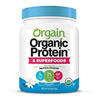 Orgain Organic Plant Based Protein + Superfoods Powder, Vanilla Bean - Vegan, Non Dairy, Lactose Free, No Sugar Added, Gluten Free, Soy Free, Non-GMO, 1.12 Lb