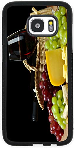 Hard Rubber Black Phone Case for Galaxy S7 Case Cover- Cheese and Wine in Hamper