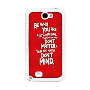 Cool Case for Samsung Galaxy Note 2 N7100 - Fashion Red Color Unique Design Hard Plastic Cell Phone Accessory Case Cover Skin with Quotes for Girls