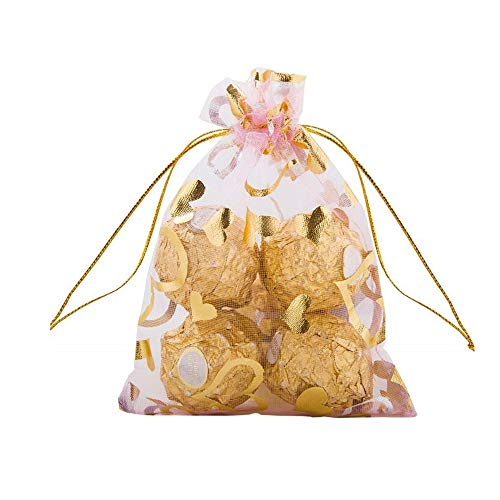 AISIBO 50pcs Heart Drawstring Organza Gift Bags Jewelry Pouches Wedding Party Candy Chocolate Christmas Valentine's Day (2.75