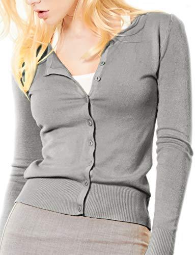 (LE3NO Womens Basic Round Neck Fine Knit Cardigan  HEATHERGRAY Large)